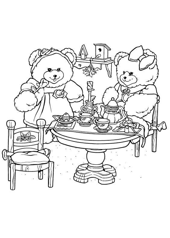 Bear tea party coloring pages free bear tea party coloring for Tea party coloring page